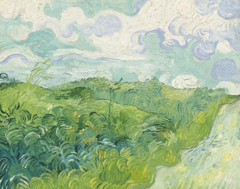 Grüne Weizenfelder von Vincent van Gogh aus dem Jahre 1890. Ein Gemälde der niederländischen postimpressionistischen Malerei, Öl auf Leinwand. (#5)