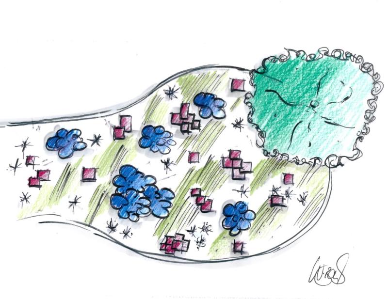 Ansichtsskizze Stauden Garten Silbermischung